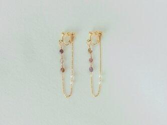 サファイアと真珠の耳飾り イヤリングの画像