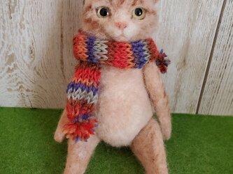 茶トラ猫(お座り)羊毛フェルトの画像
