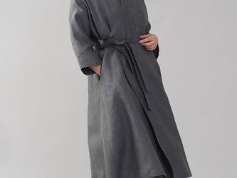 【wafu】中厚 リネン 禅 羽織  着物 和装 襟 ローブ コート 九分袖 リネンコート/ディムグレー h037g-dmg2の画像