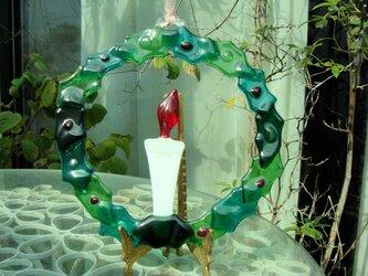 ガラスのクリスマスリースの画像