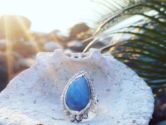 【14号】silver925 blue opal ringの画像
