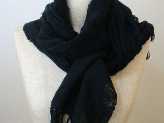 《手織り》コットン レース模様のマフラーの画像