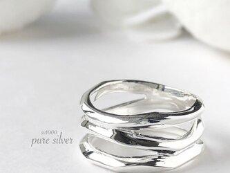 サイズ入荷❣️送料無料✴︎3連すかしリング 純銀  purecubicの画像