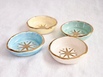 星の模様の金彩豆皿セットの画像