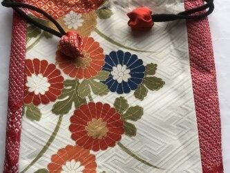 4769 花柄の振袖と絞りで作った巾着袋 #送料無料の画像