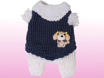 胸46-50オーダー手編み 手作りのわんちゃん犬服つなぎ(秋冬)の画像