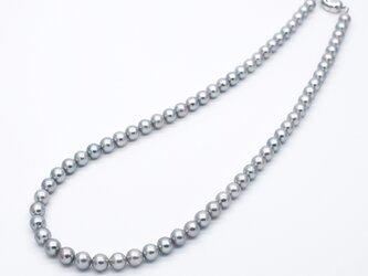 ラウンド本真珠ネックレス シルバーグレー系 SV925 小粒 中粒 5.5mm アコヤ真珠ナチュラル系カラーの画像