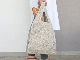 ちょっとそこまで、のお出かけに。シンプルで軽い!手織り麻のワンマイルバッグ size L「生成×生成(L1)」の画像