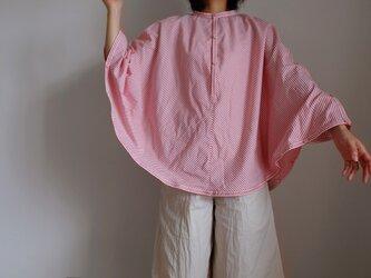 ポンチョ 風 プルオーバーシャツ / Lサイズ / コットン ストライプ【オフ白に赤】<受注制作>の画像