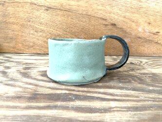 緑青と黒のCハンドル 350mlスープカップLの画像