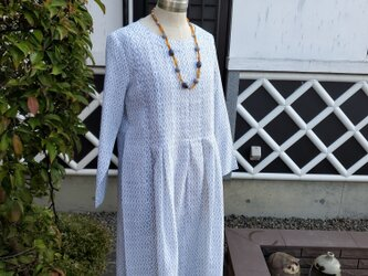 着物リメイク 手作り 白 上布 チュニックワンピースの画像