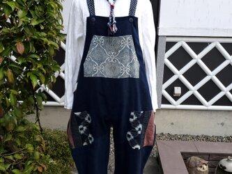 着物リメイク 手作り かすりパッチ 後ろリボン つなぎの画像