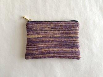 絹手染ポーチ(横・渋赤紫黄土グレー)の画像