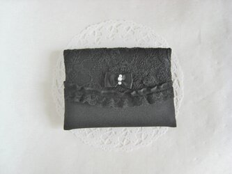 リボンとレースのポケットティッシュケース(ブラック)の画像