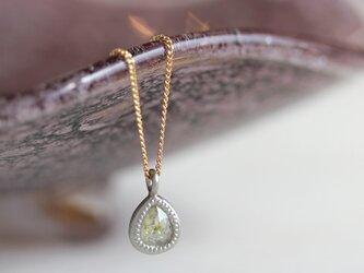 K18・Pt ローズカット・ダイヤモンドネックレス 〈ペアシェイプ・クリア〉の画像