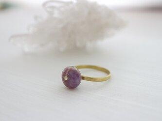 ケープアメジスト*レアストーン*Brass Point Ring*真鍮リング*no.416の画像