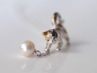 パールと三毛猫ペンダント Silverの画像