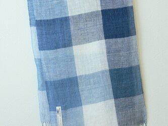 手織り・藍染めリネンストール 大きなチェックの画像