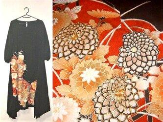 留袖リメイク♪菊の刺繍が素敵な留袖ワンピース♪裾変形♪ハンドメイド♪正絹の画像