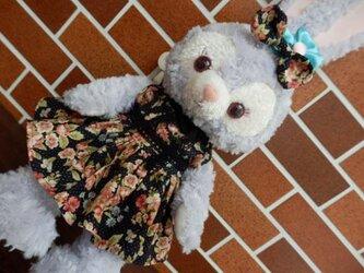 ★元気出しsale ステラのおしゃれドレスとリボン(黒地に花柄)の画像