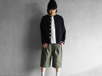 オーガニックコットンノーカラーシャツジャケット(クロ)size1【ユニセックス】の画像