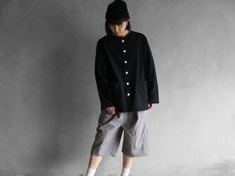 オーガニックコットンノーカラーシャツジャケット(クロ)size2【ユニセックス】の画像