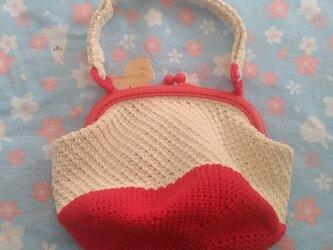 編みがま口ポーチ 赤色の画像