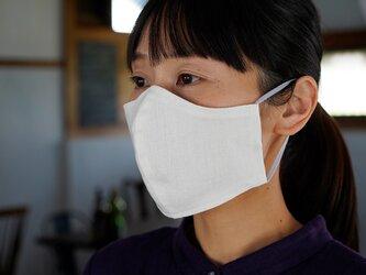 【ホワイト・立体】リネンマスク 2重仕様  Wガーゼリネン100% 抗菌 防臭 速乾 /z021c-wht2の画像