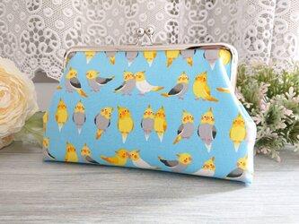 ◆【再販】モコモコオカメインコのがま口ポーチ*鳥バードペット旅行やプレゼントにの画像