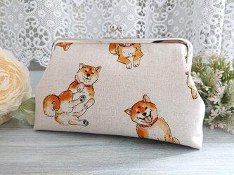 ◆【再販】ワンワン柴犬のがま口ポーチ*ドッグわんこ織田シナモン信長旅行やプレゼントにの画像