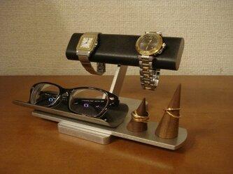 プレゼントに ブラック2本掛け腕時計、ダブルリング、メガネスタンド ★リングスタンド未固定 No.141203の画像