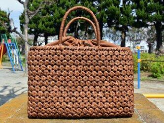山葡萄(やまぶどう)籠バッグ | 六角花結び編み | 巾着と中布付き | (約)幅36cmx高さ24cmx奥行12cmの画像