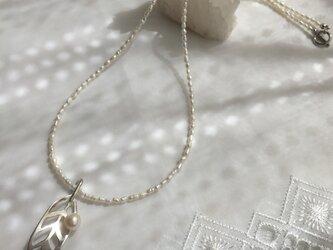 シルバーとパールのネックレスの画像