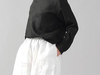 【wafu】中厚地 リネン 肩ボタン ブラウス シャツ スタンドカラー シェルボタン/ブラック t019b-bck2の画像