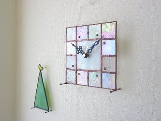 【16㎝×16㎝】ステンドグラス*掛け置き時計・モザイクc(オーロラ)の画像