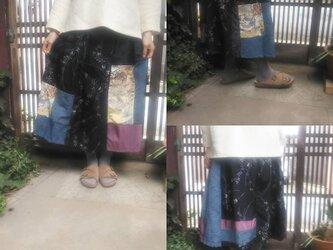 コロナに負けるなお値引き価格☆着物リメイク☆シックな大島紬に華やかな桜模様のお出かけスカート79㎝丈の画像