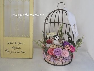 【母の日2020】鳥かご花arrange*シジュウカラの画像