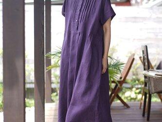 【wafu】中厚 リネン ワンピース プリーテッド・ブザム ピンタック ドレス/プラムパープル a081r-ppe2の画像