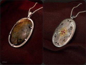 ラブラドライト× ルビーサテンアンティーク ペンダント  (Dual Pendant Labradorite&Satin)の画像