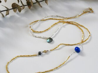 ラピスラズリ×ハーキマーダイヤモンド×ヴィンテージビーズ・ロングネックレス n1390の画像