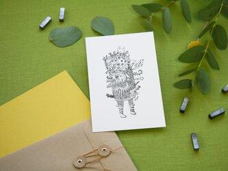 【2枚セット】酒井ひさお「happy song」活版印刷のポストカード・グリーティングカード/鳥・トリの画像