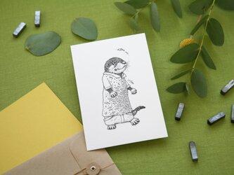 【2枚セット】酒井ひさお「無邪気なスイマー」 活版印刷のポストカード・グリーティングカード/カワウソ・かわうそ・獺の画像