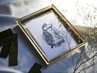 【2枚セット】酒井ひさお「想い消えず」活版印刷のポストカード・グリーティングカード/猫・ネコ・文鳥の画像