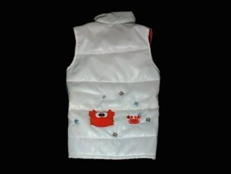 胸48*手作り犬服 洋服♪白ダウンジャケット秋冬の画像