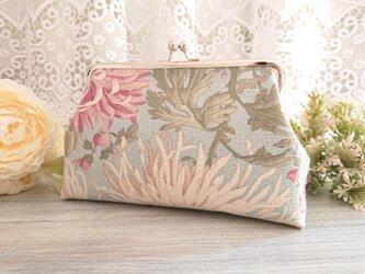 ◆【売り切れ】【再販2】大輪のダリアのアンティークポーチ*花柄フラワーシャビーシック旅行やプレゼントにの画像
