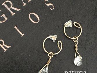 ハーキマーダイヤモンドのノンホールピアス 14kgfの画像