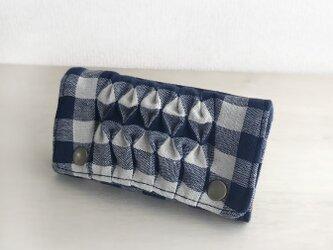 スモッキング刺繍キーケース(ネイビーチェック)の画像