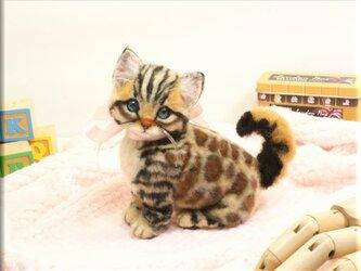 羊毛フェルト 猫 ベンガルさん ねこ ネコ 猫フィギュアの画像