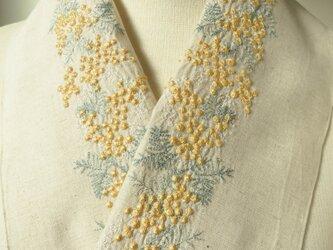 半衿・刺繍半衿・ミモザ2020ナチュラルの画像