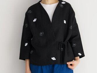 袷のショートジャケット黒 椿の画像